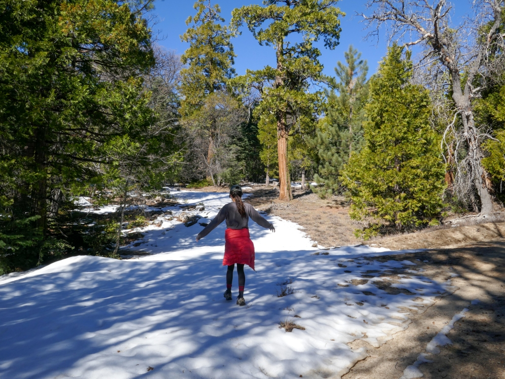 Madison Snively walks across snow on the trail to Hot Springs Mountain.