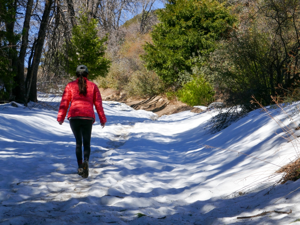 Madison Snively walks on snow on the way to Hot Springs Mountain.