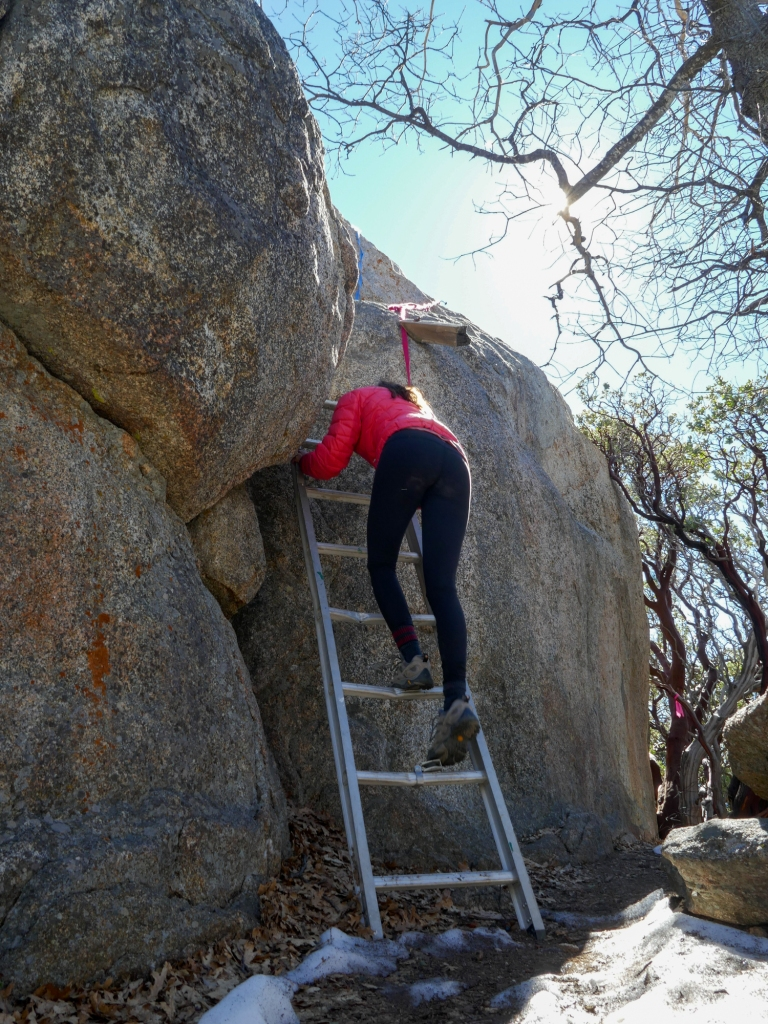 Madison Snively climbs a ladder to the top of Hot Springs Mountain.