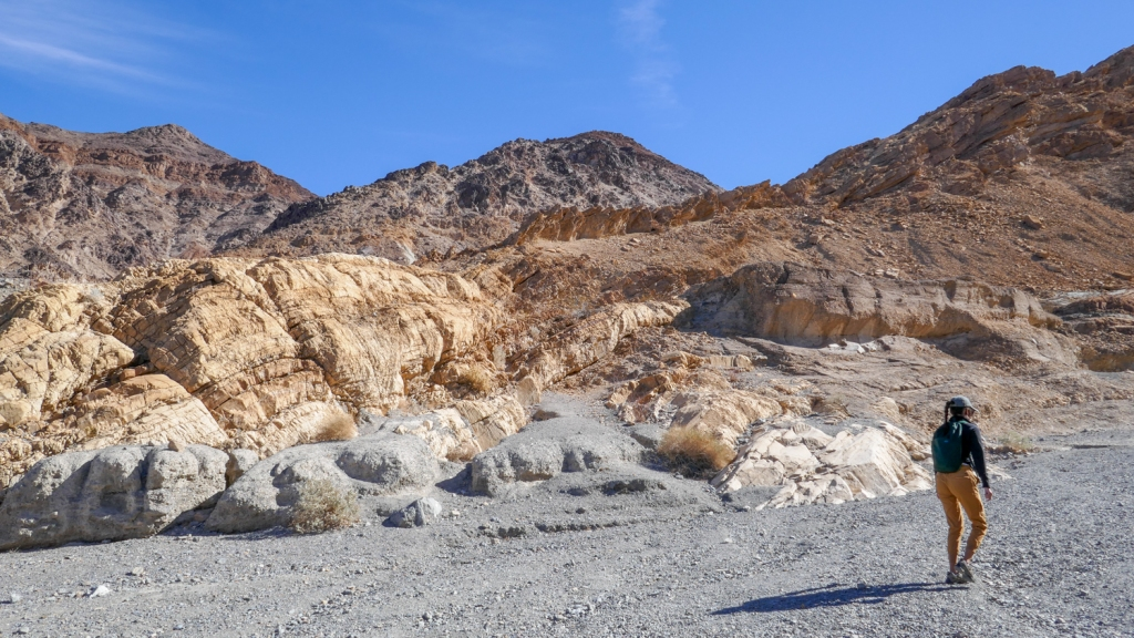 A hiker begins the Mosaic Canyon trail in Death Valley National Park.