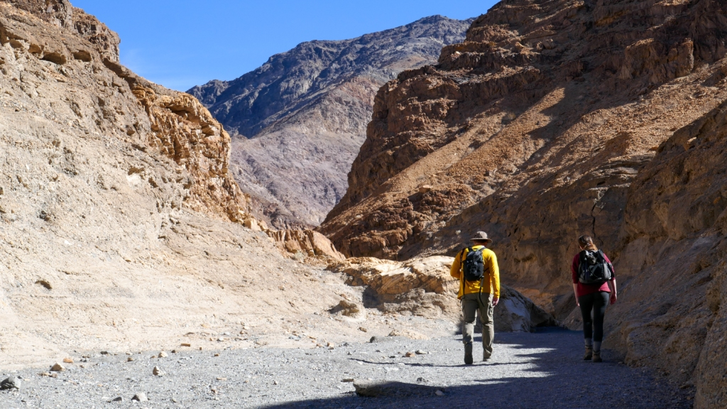 Hikers on the Mosaic Canyon Trail of Death Valley National Park.