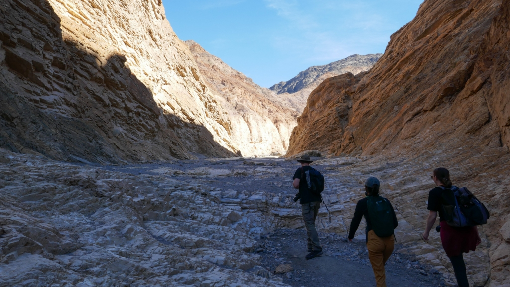 Hikers on the Mosaic Canyon trail in Death Valley National Park.