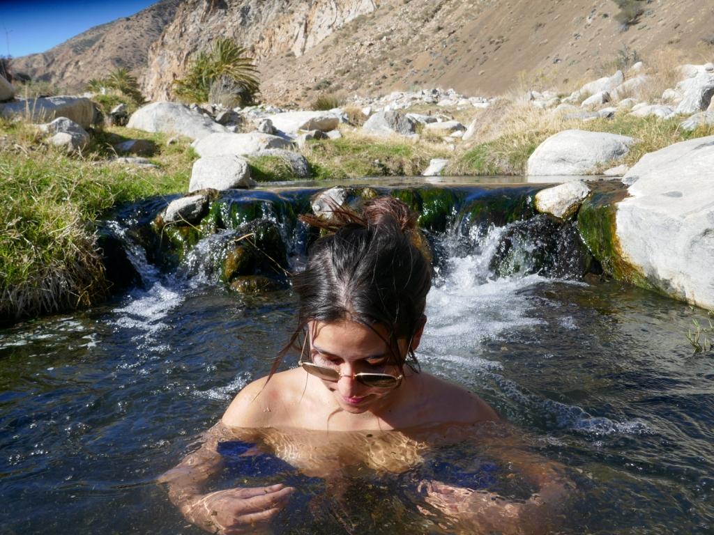 Soaking in Sespe hot Springs.