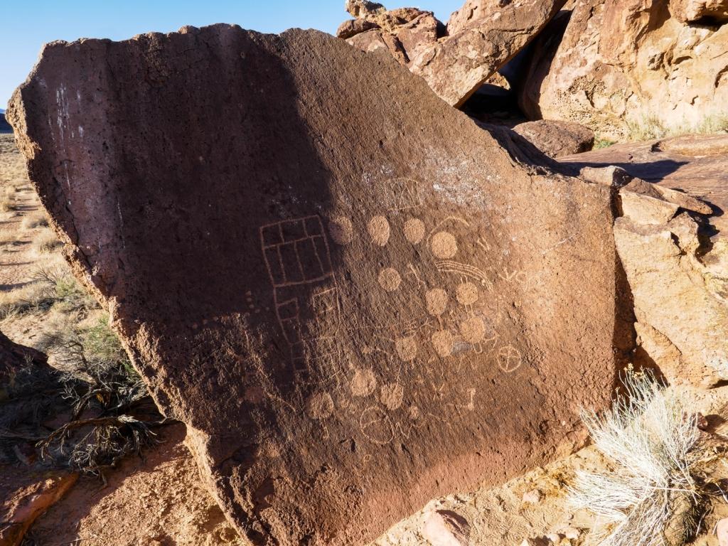 13 Moons petroglyphs on the volcanic tablelands of Bishop, California.