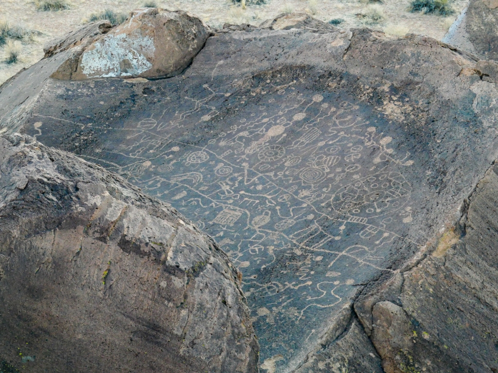 Sky Rock petroglyph on the volcanic tablelands of Bishop, California.