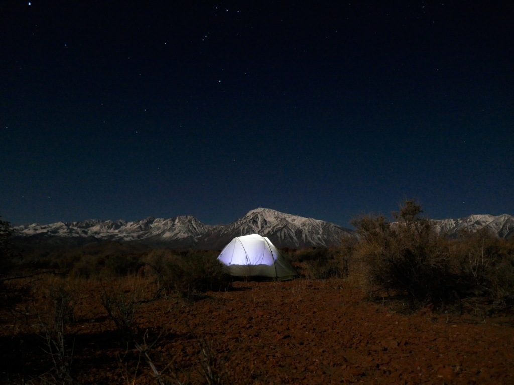 Camping on the volcanic tablelands of Bishop, California.