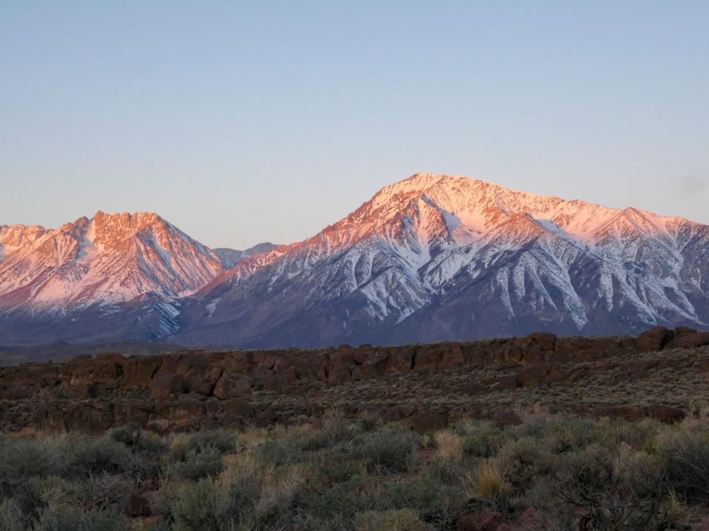 The sunrises casts light on Mt Tom of the eastern Sierra Nevada.